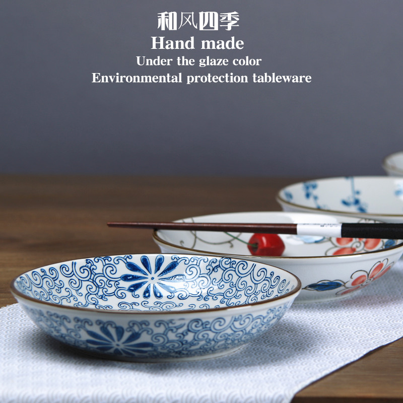 And the four seasons Japanese - style tableware under the glaze made pottery porcelain household move hand - made disc rice dish dish dish