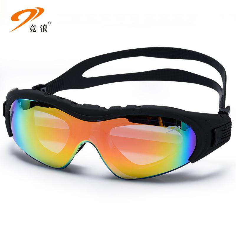 竞浪男女通用游泳眼镜防雾高清大框电镀泳镜成人游泳辅助装备专业