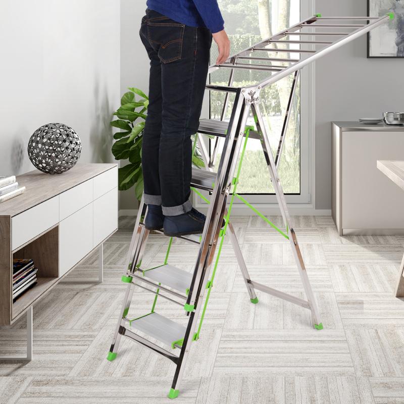 梯子晾衣架两用多功能落地室内晒被子不锈钢折叠家用四五步人字梯