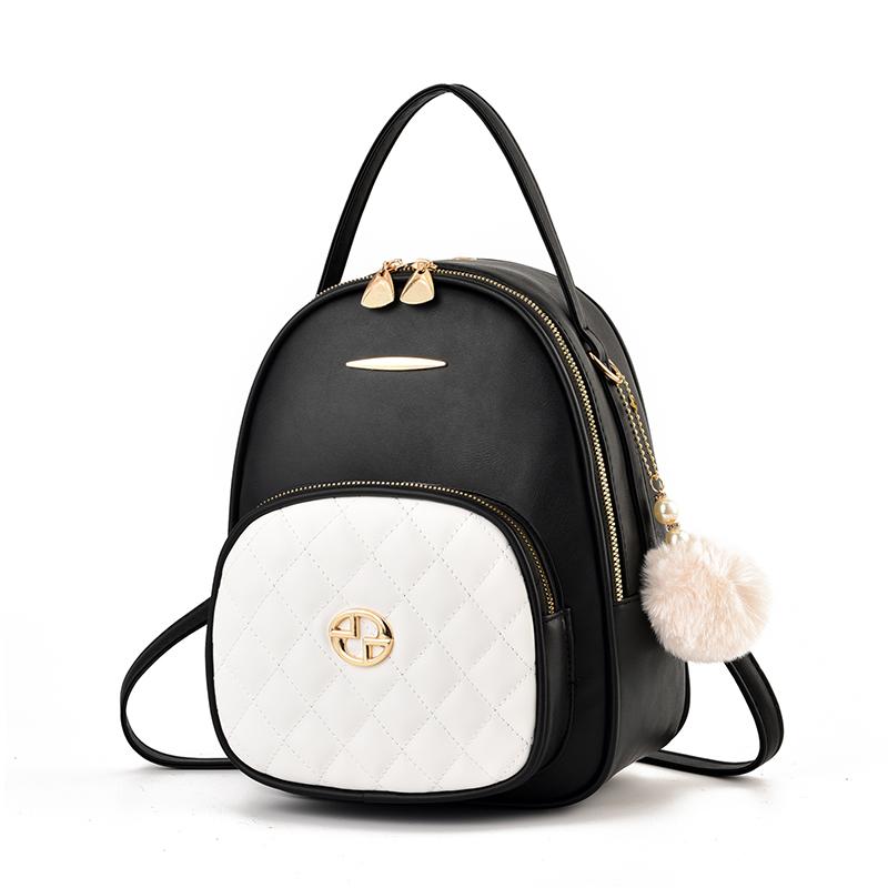 双肩包女士2020新款韩版时尚网红包包黑色简约休闲百搭软皮小背包