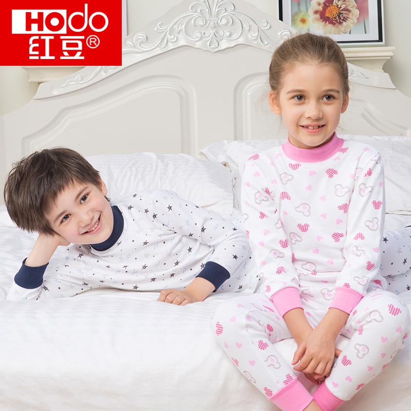 红豆儿童内衣套装男童女童宝宝纯棉高领秋衣秋裤 怀旧设计 100%棉