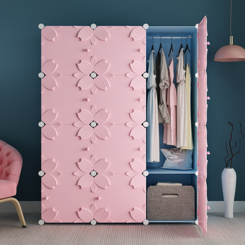 Simple wardrobe simple modern economical assembly combination solid wood children's plastic cloth dormitory small wardrobe storage