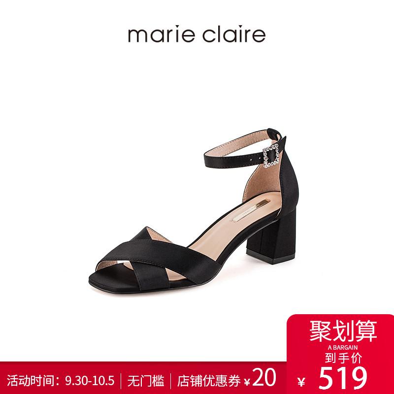Marie Claire2018夏巴黎新款复古钻饰鱼嘴真丝高跟MC凉鞋769-456