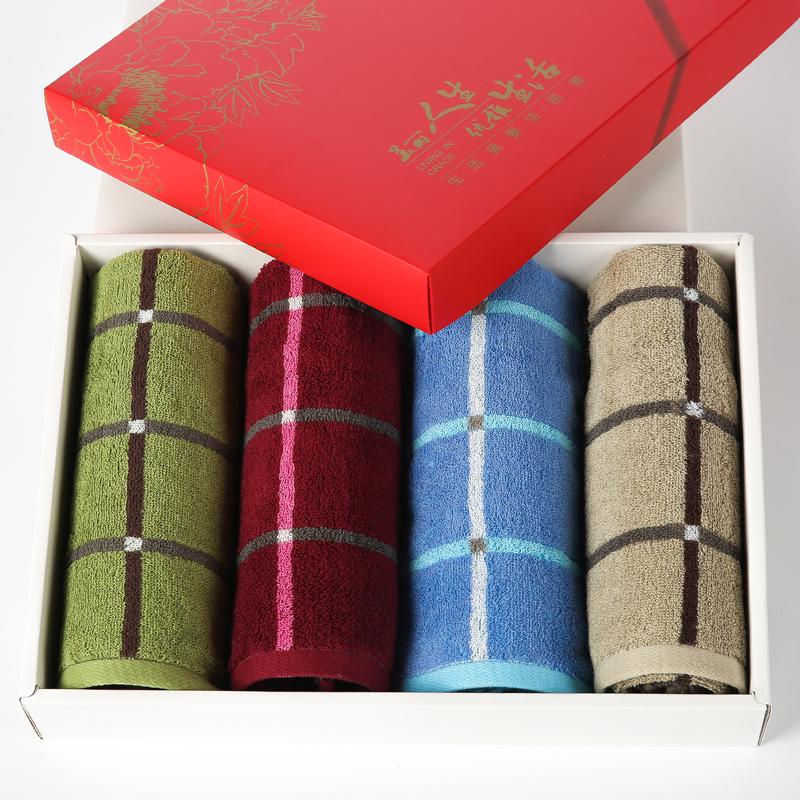 洁丽雅纯棉毛巾 4条装礼盒装 面巾结婚婚庆商务回礼毛巾套装团购
