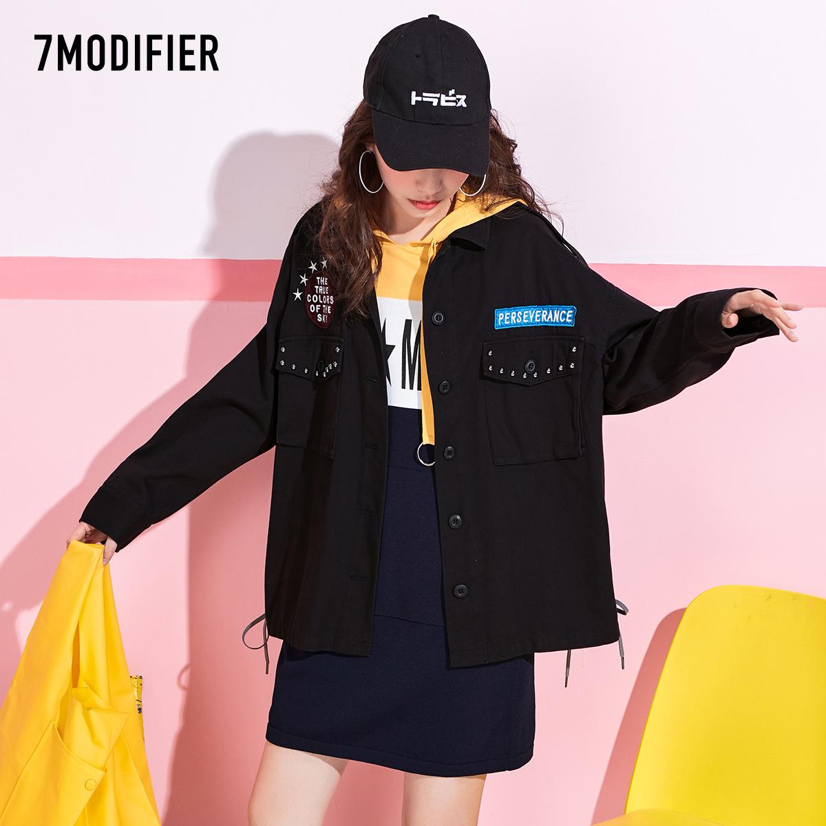 黑色牛仔衣7m2018秋季新款韩版风衣宽松学生棉短运动牛仔扣子外套