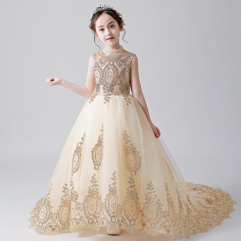 花童钢琴演出服小主持人儿童走秀蓬蓬纱晚礼服拖尾模特公主裙女童