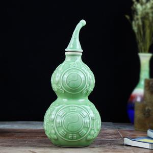 1斤装酒瓶景德镇陶瓷坛子道法家一斤装八卦图气葫芦酒壶家用仿古