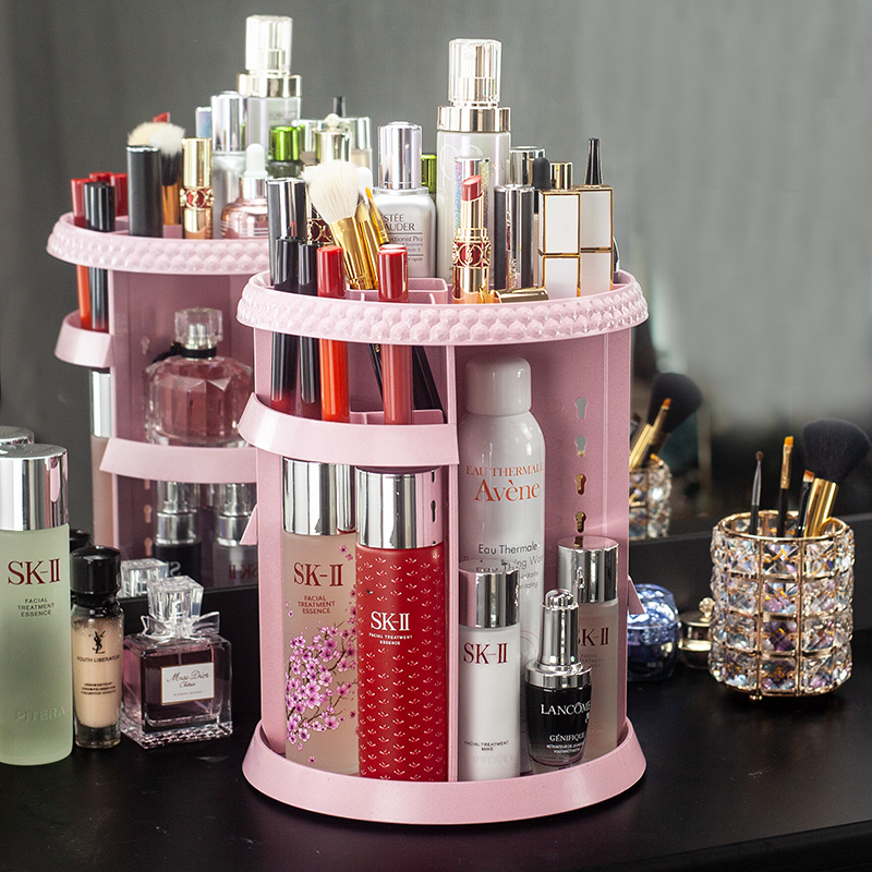 Net red rotating cosmetics storage box transparent desktop racks dressing table lipstick skin care products storage rack