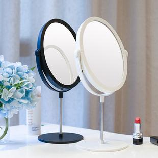 台式宿舍化妆镜子桌面便携小折叠网红美妆led带灯双面梳妆公主镜