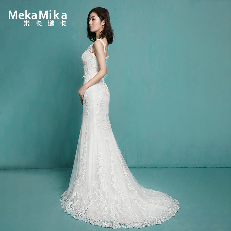 Mika Puzzle Card 苓芸 Wedding 2018 new V-neck sling backless ...