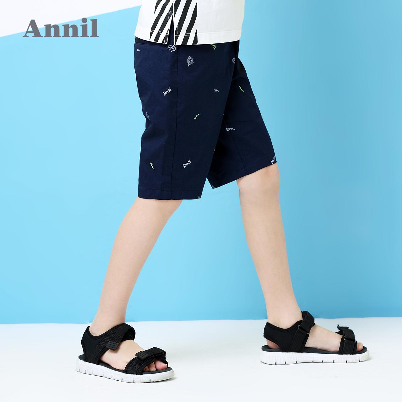 安奈儿童装男童中裤2018夏季新款全腰梭织中裤EB826223