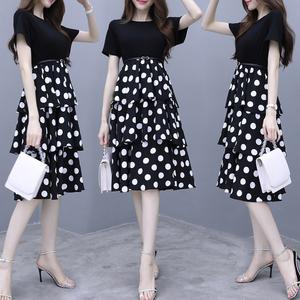 实拍夏装新款法国小众复古气质连衣裙中长款波点收腰显瘦蛋糕裙女