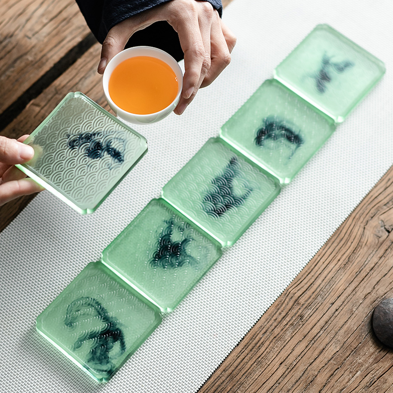 Ink in building glass cup mat contracted household cup a kung fu tea tea cup pad against the hot insulation resin