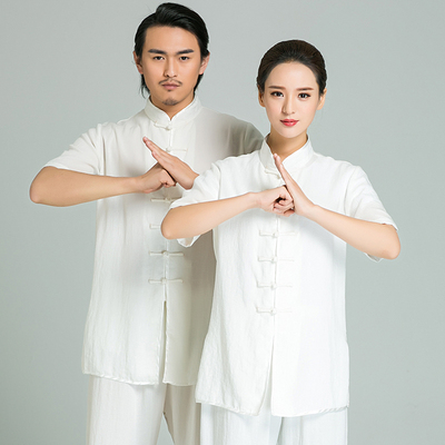 Tai Chi clothing cotton and linen long-sleeved men and women Tai Chi Chuan martial arts performance morning practice Tai Chi clothing