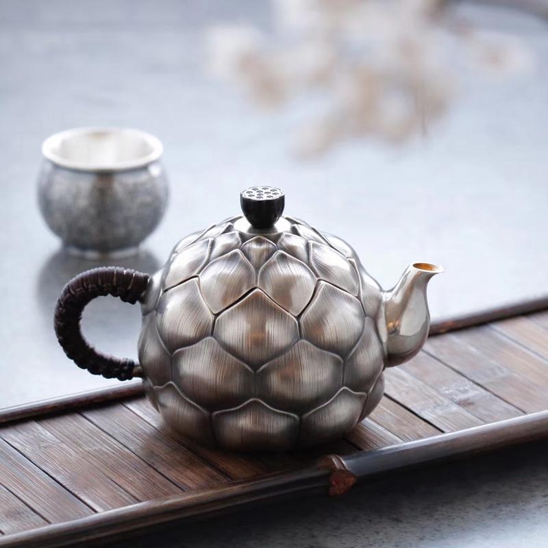银壶纯银999烧水壶 一张打纯手工迷你莲花功夫泡茶壶电陶炉煮水壶