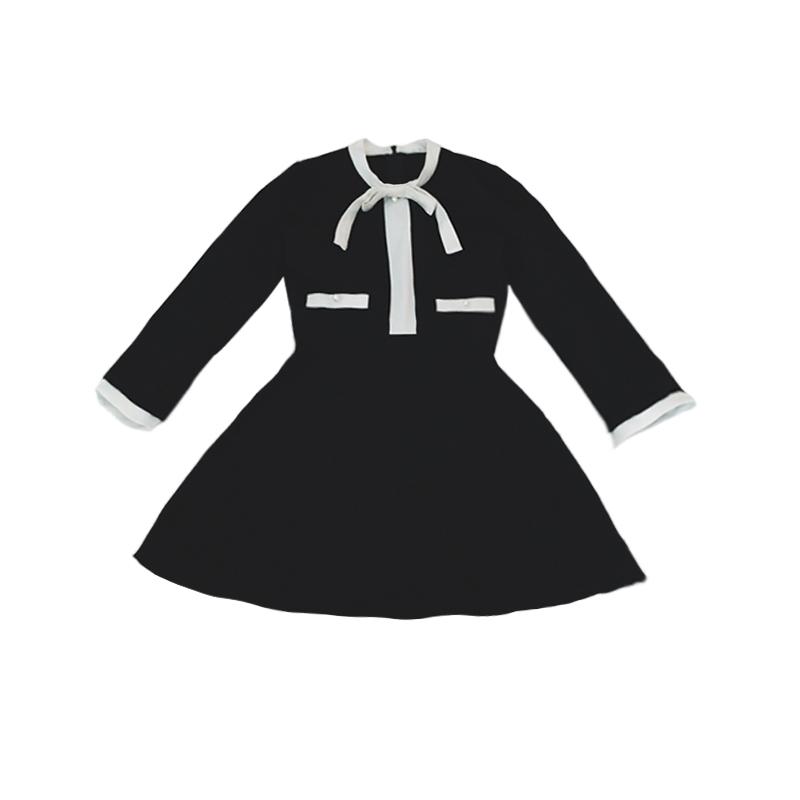 Женское платье Оригинальные дизайнеры новых малых месторождений дышать сладкий Хепберн ежегодный черный высокой талией, длинные маленькие черные платья осень/зима платье