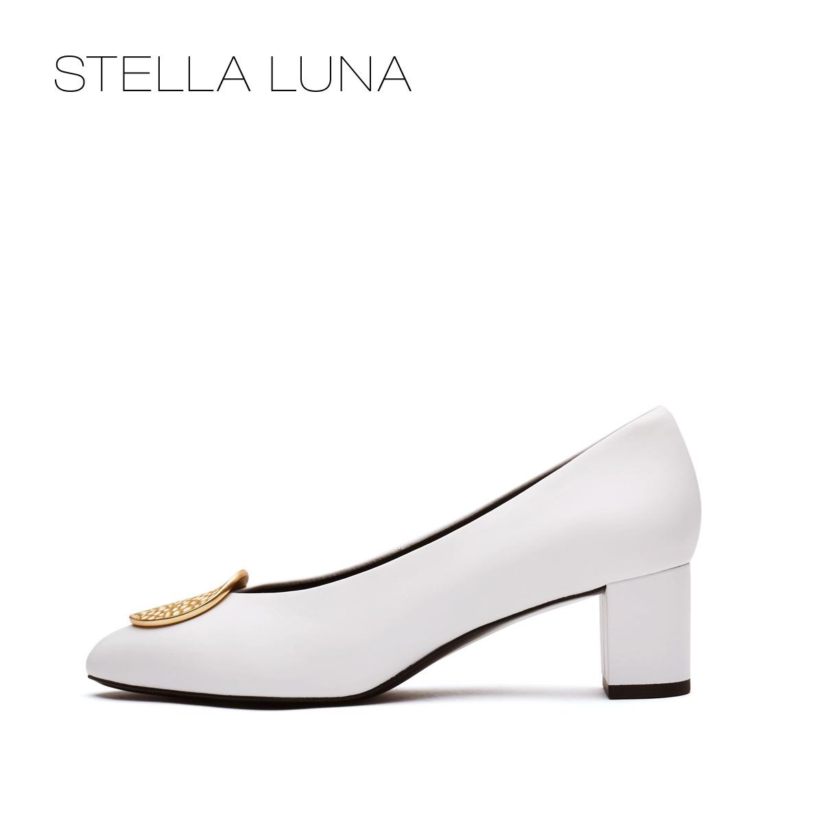 STELLA LUNA牛皮古铜钱饰扣粗跟女士单鞋 SH133L22152