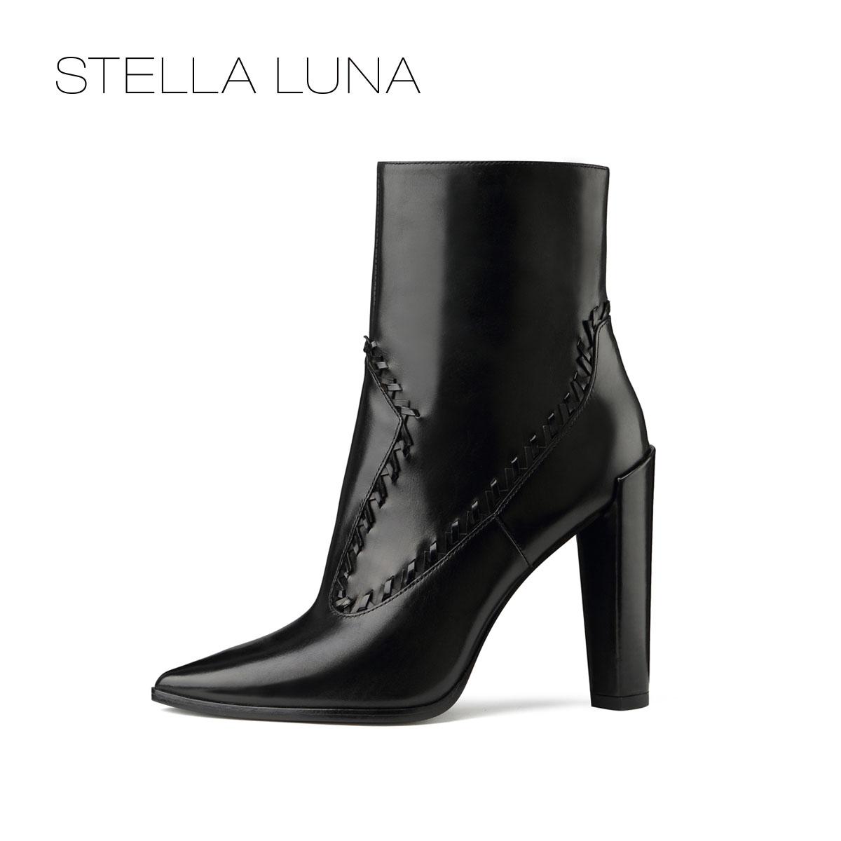 STELLA LUNA女靴冬季新款时尚尖头细跟简约短靴女SF320L11674