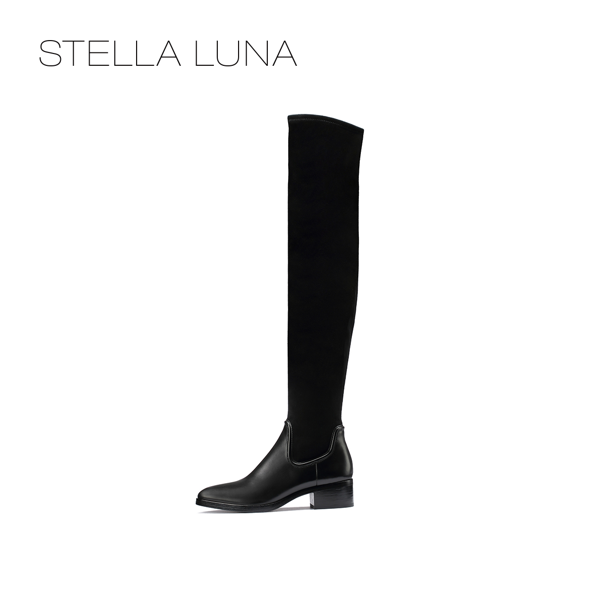 STELLA LUNA秋冬女士长筒靴 圆头方跟拼接过膝靴 SF301C22670-