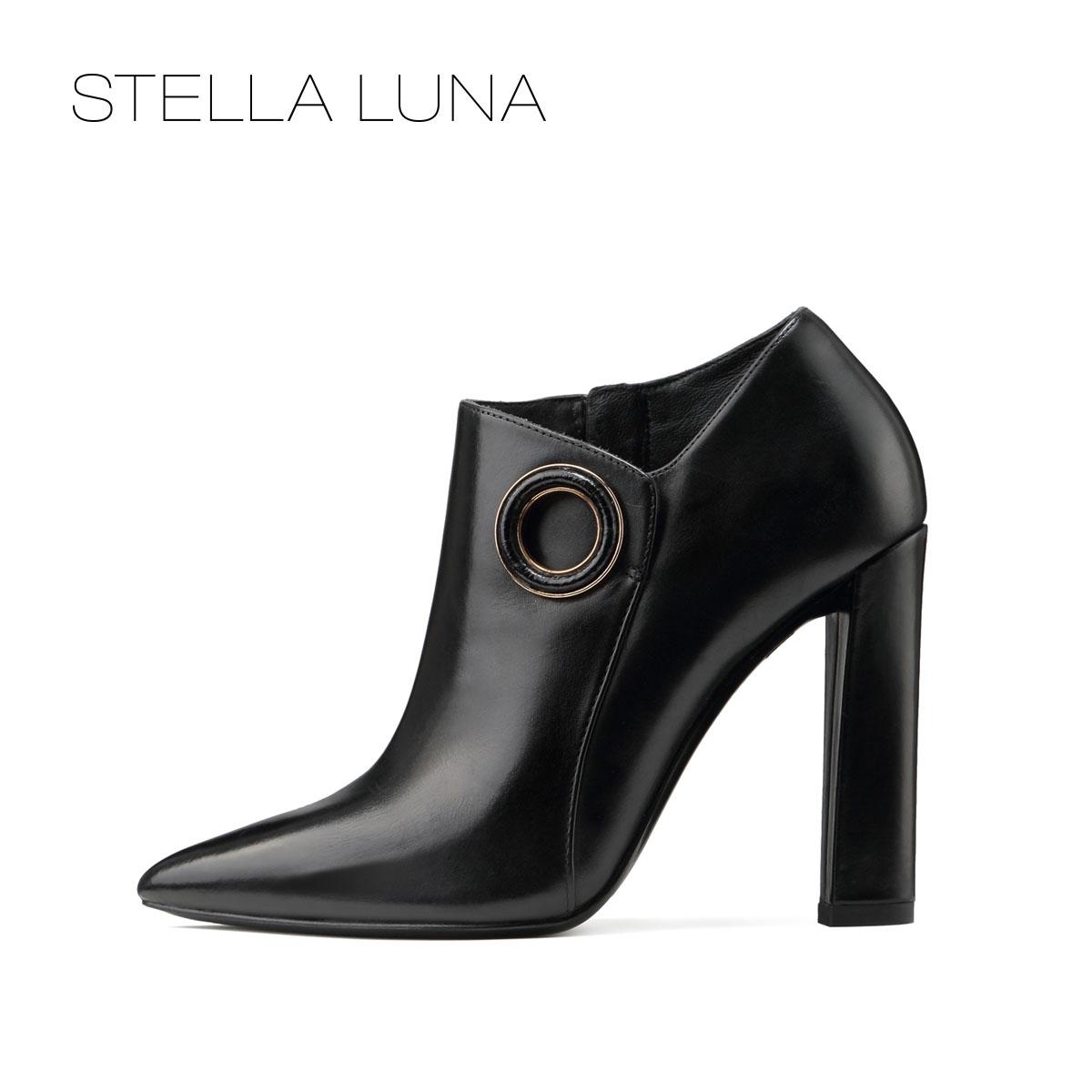 STELLA LUNA女靴秋冬简约尖头高跟靴性感踝靴女细跟潮SF320L11579