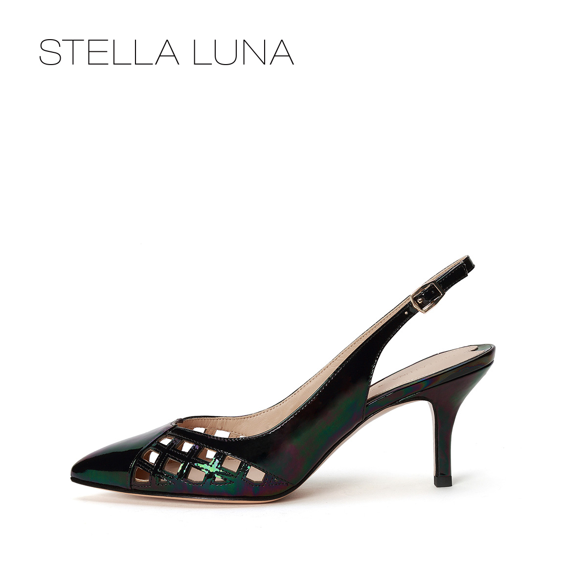 STELLA LUNA镂空小猫跟女鞋牛皮尖头一字扣凉鞋SG160L02406