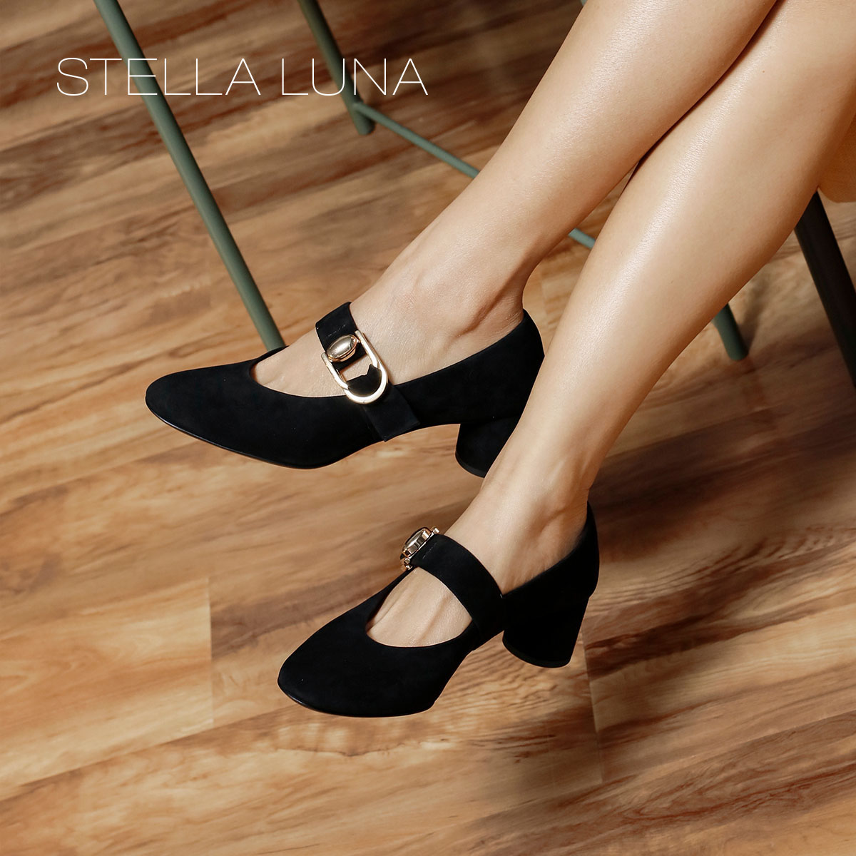 STELLA LUNA女鞋春季2018新款金属搭扣优雅浅口圆头中跟粗跟单鞋