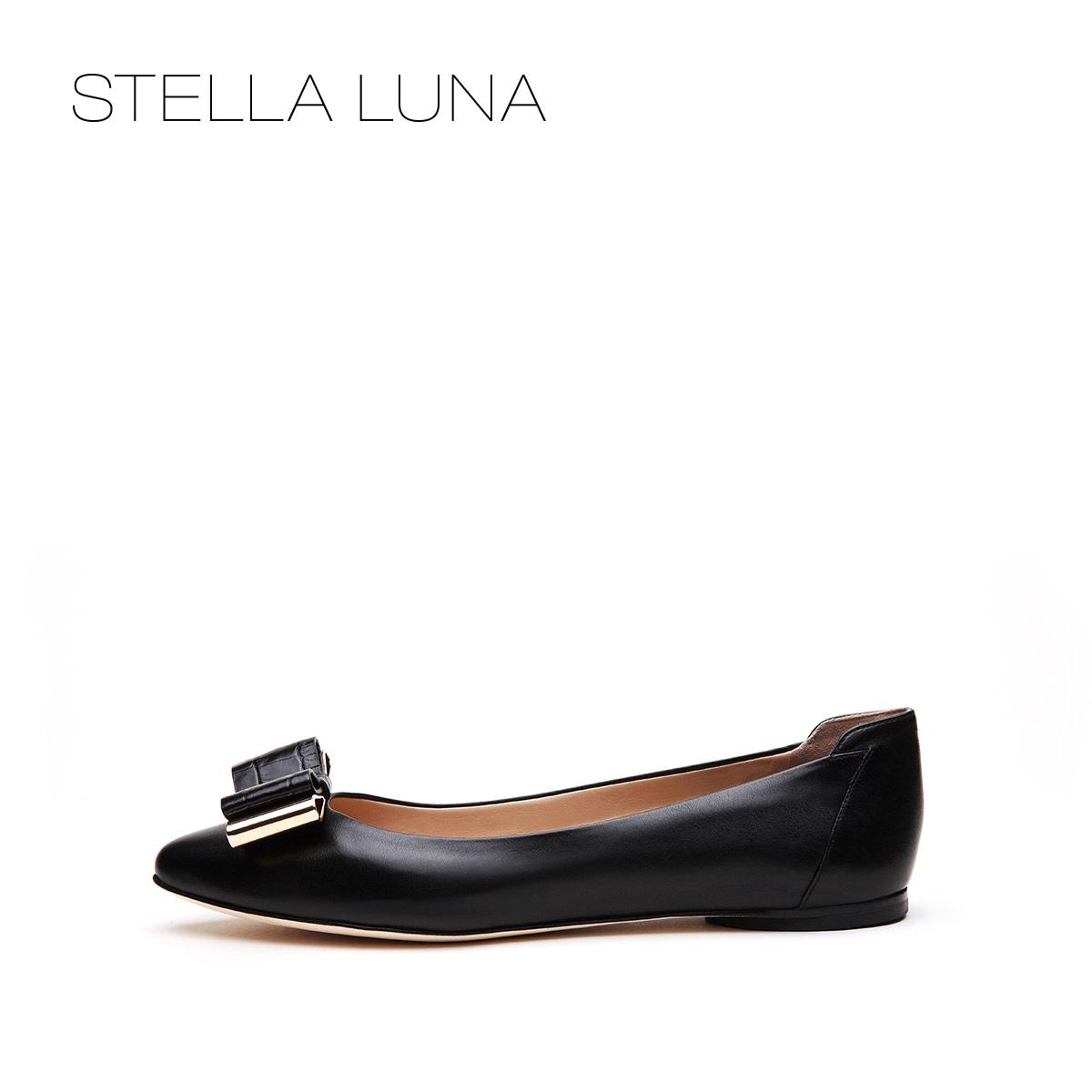 STELLA LUNA设计师款秋季浅口套脚女鞋牛皮蝴蝶结平底低跟单鞋