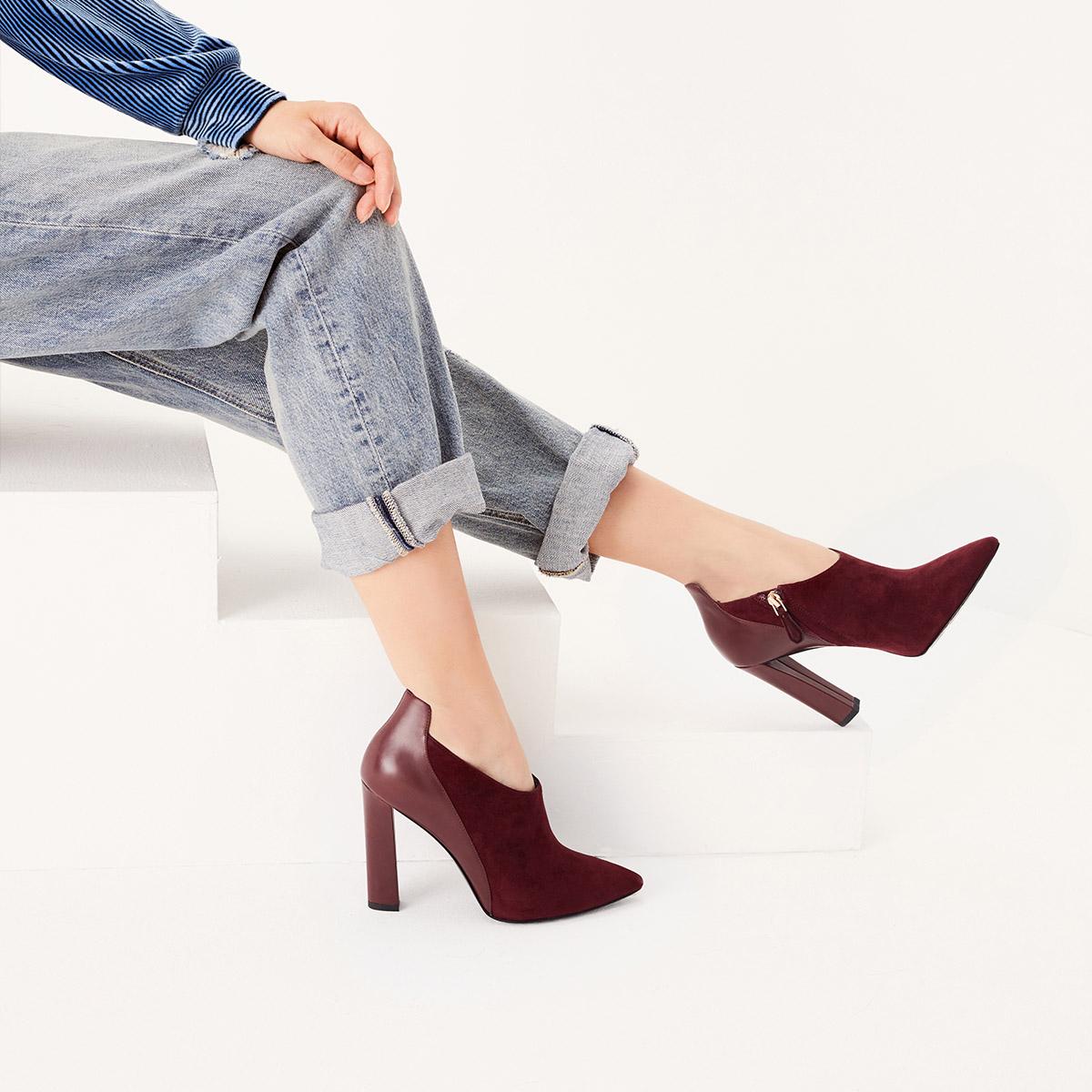 STELLA LUNA女士拼接女靴尖头短靴高跟踝靴SF320C11817
