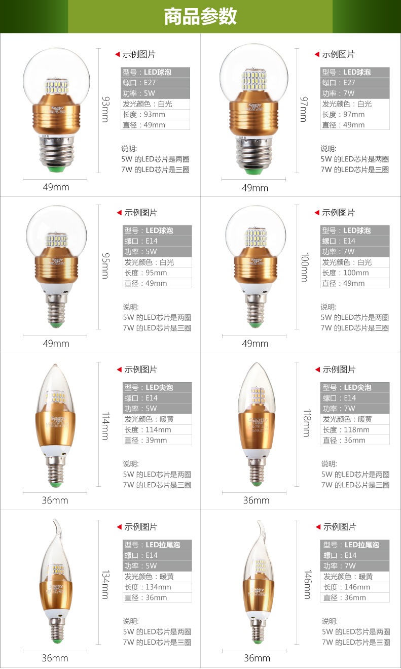 LED-светильник Ten fields  LED E14 E27 5W 4000K - 10