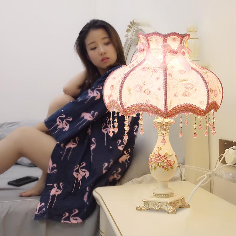 卧室台灯创意公主房温馨暖光复古结婚装饰婚房浪漫床头灯欧式台灯