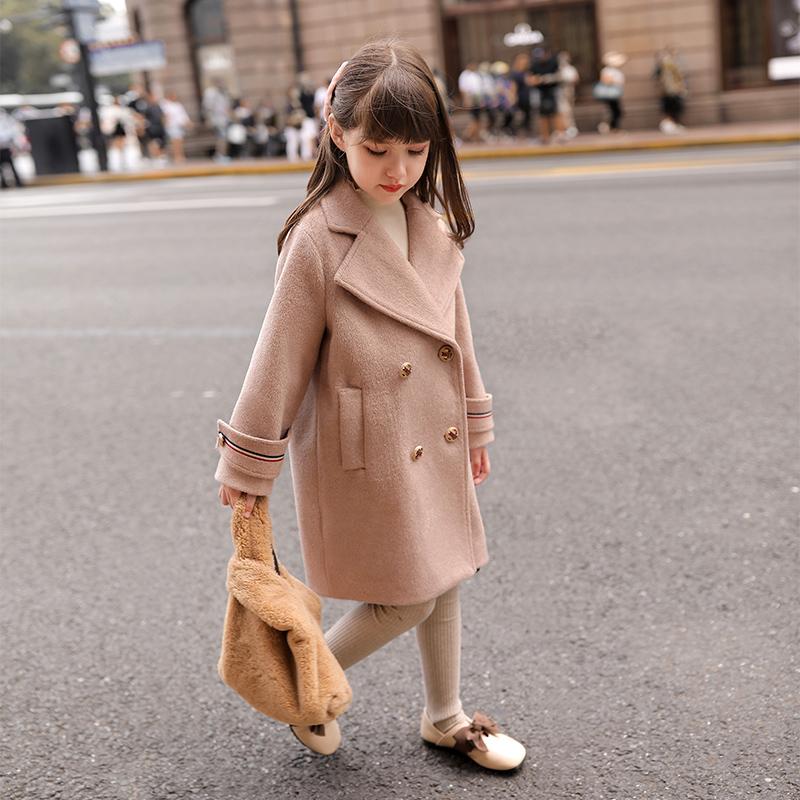 女童呢子外套2019新款洋气韩版加厚秋冬装大儿童装中长款毛呢大衣