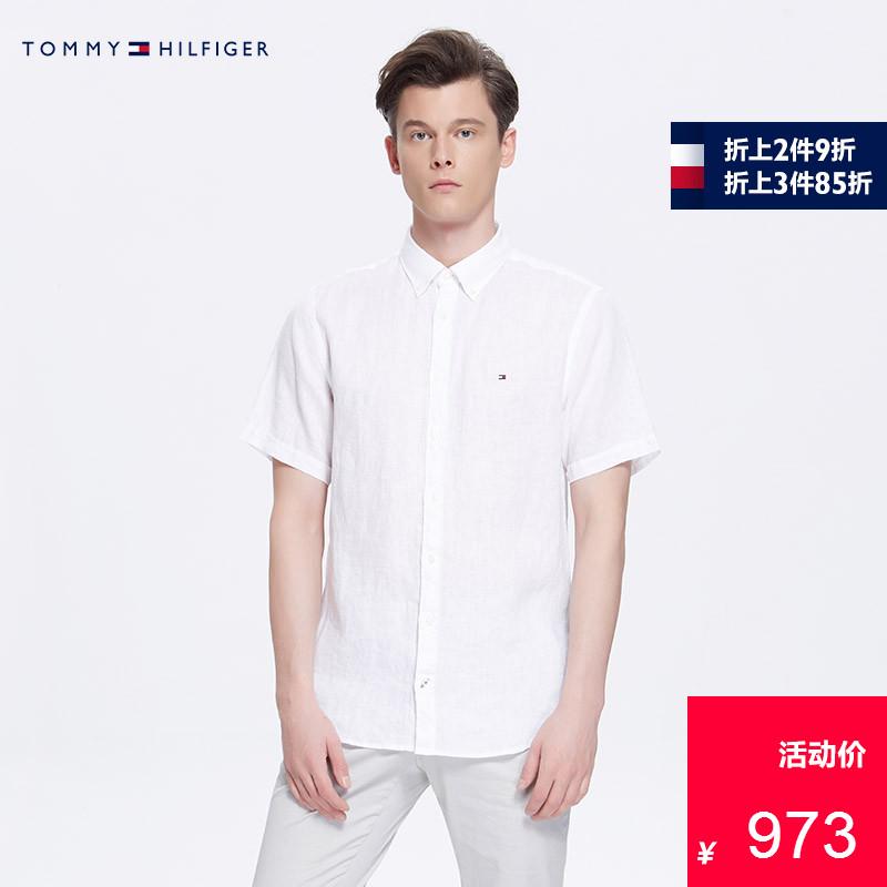 TOMMY HILFIGER男装2018春夏纯色亚麻休闲短袖衬衫-MW0MW07479OS