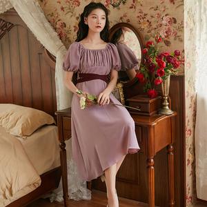 2020夏天新款紫色温柔风轻熟雪纺连衣裙气质女神范收腰显瘦