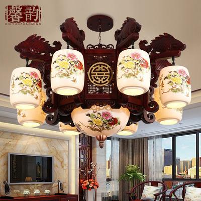 馨韵中式吊灯客厅仿古实木茶楼酒店别墅复式楼梯陶瓷餐厅大吊灯具
