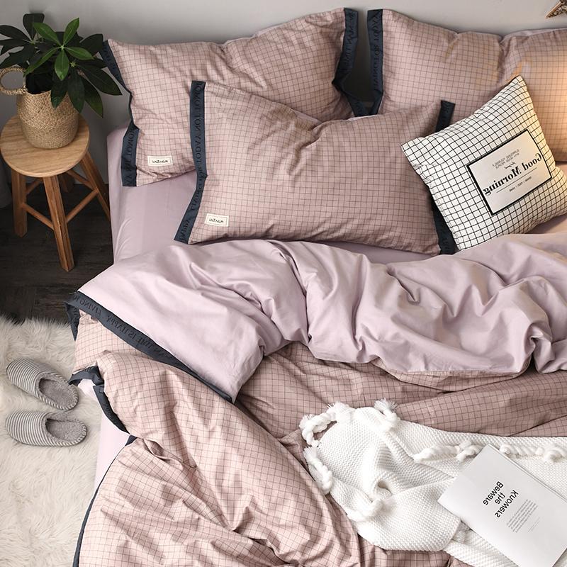 北欧裸睡全棉四件套无印格子纯棉被套床单床笠1.8m床上用品简约