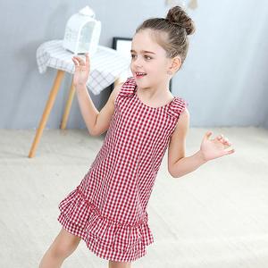 女童夏装连衣裙2019新款3-5岁女宝宝纯棉裙子6儿童格子公主裙红色