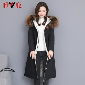 雅鹿派克羽绒服女中长款2019新款爆款过膝大毛领时尚修身白鸭绒X
