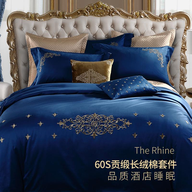 五星级酒店宾馆床上用品四件套床单被套全棉纯棉1.5m1.8m米床欧式