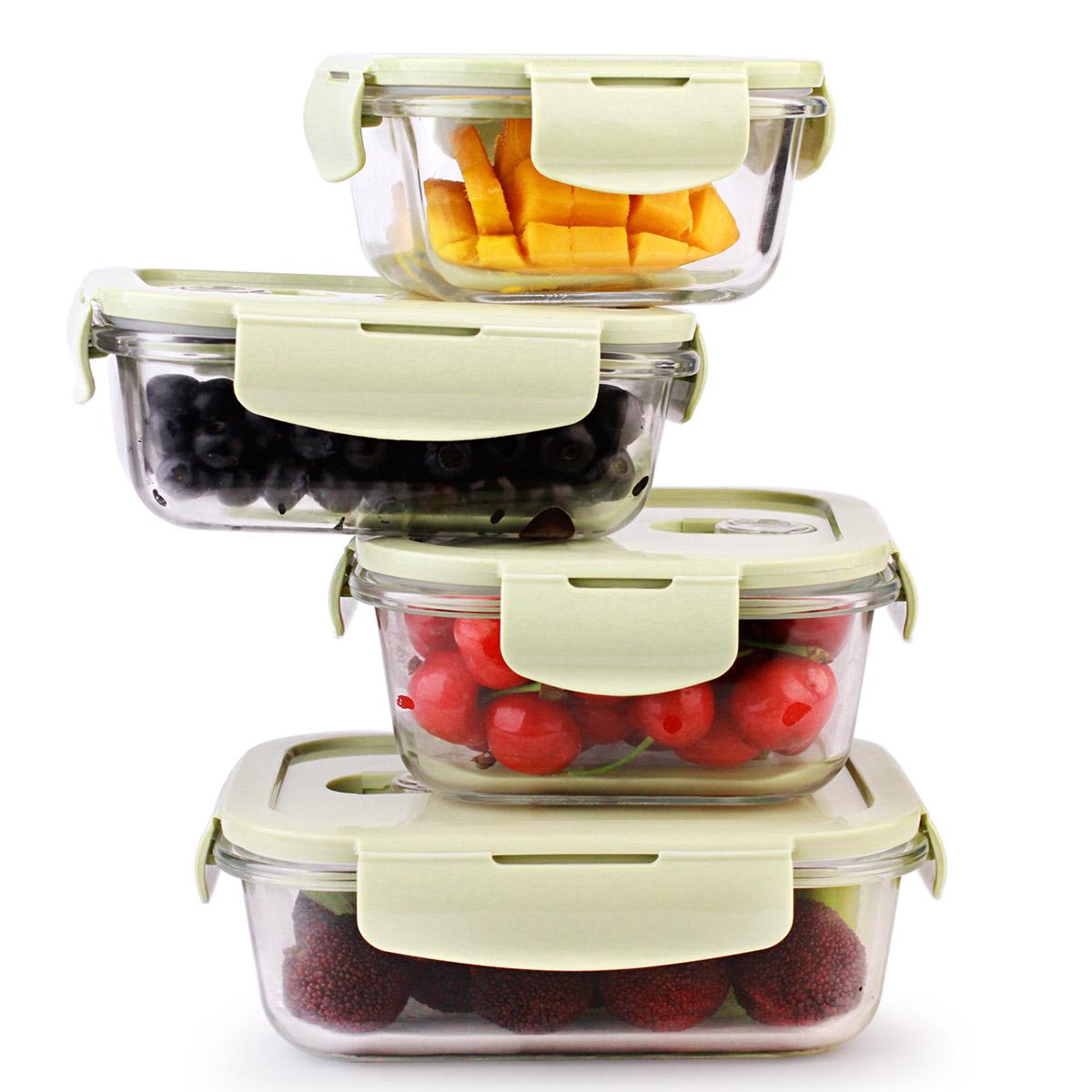 创得耐热玻璃饭盒微波炉专用保鲜盒收纳带盖玻璃碗套装