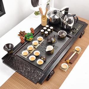 煜元窑整套陶瓷功夫茶具喝茶泡茶套装家用实木简约茶道乌金石茶盘