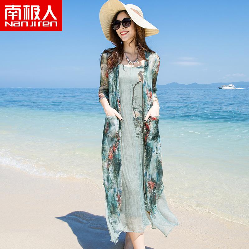 杭州真丝连衣裙女2018新款100%桑蚕丝宽松中长款两件套大码印花裙