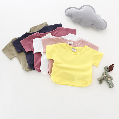1 year and a half to 5 years old female treasure T-shirt short-sleeved shirt children's summer cotton short-sleeved t-shirt bat split Korean children's clothing