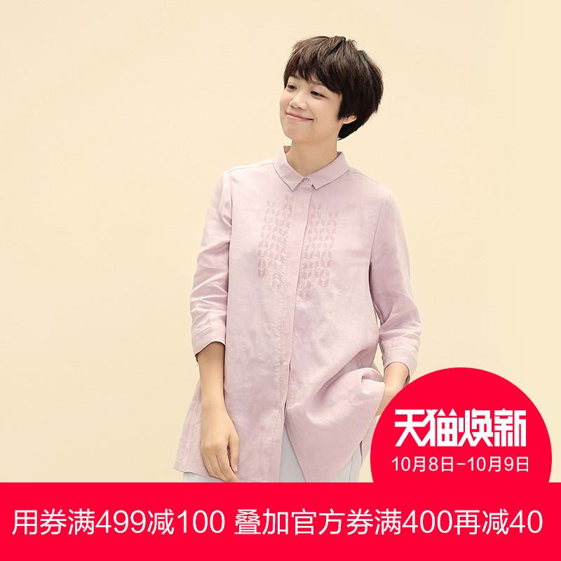布景秋装女装纯色七分袖宽松衬衣 苎麻刺绣衬衫女