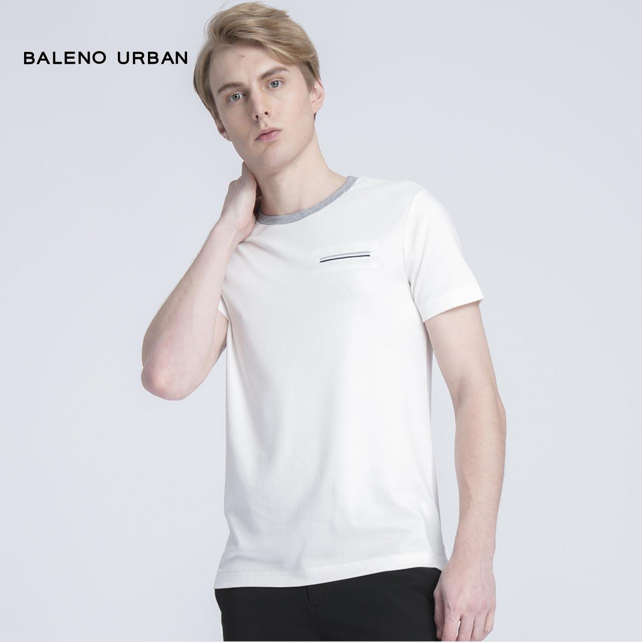 Baleno班尼路短袖男 纯色口袋T恤男 宽松纯棉白色t恤打底半袖