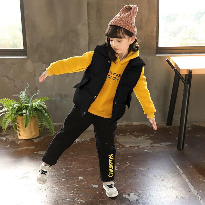 女童加厚三件套2018新款儿童加绒卫衣马甲裤子套装3-7岁宝宝冬装5