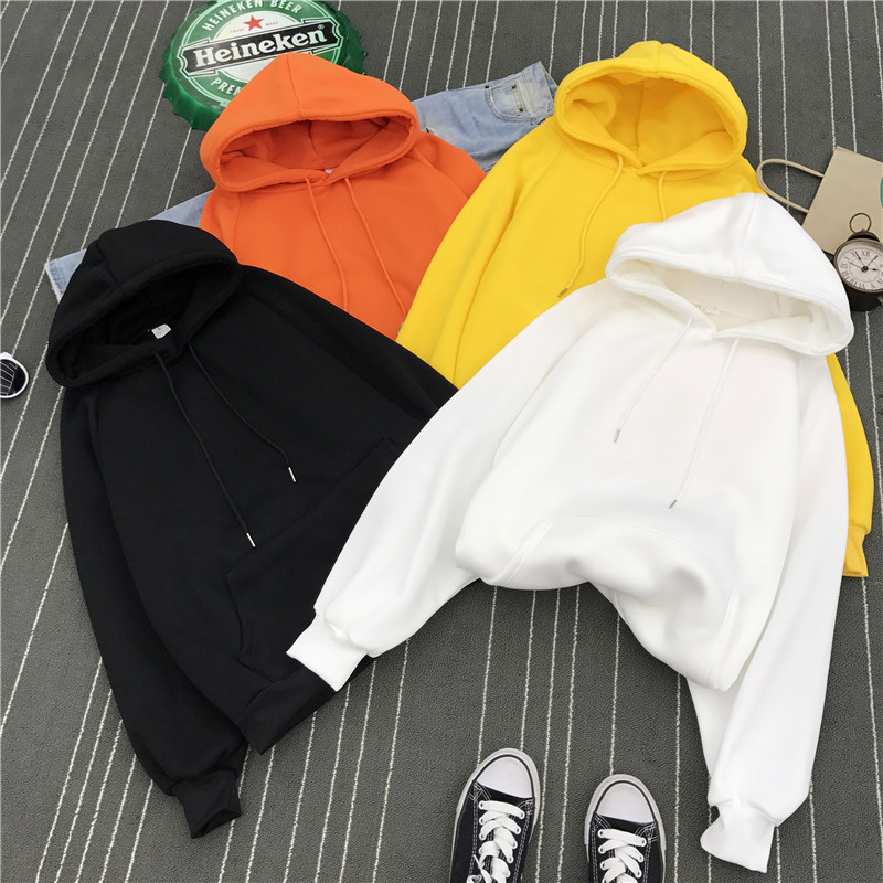 Plus thick velvet sweater influx of female Korean students loose big yards long section of students head joint hoodies coat jacket