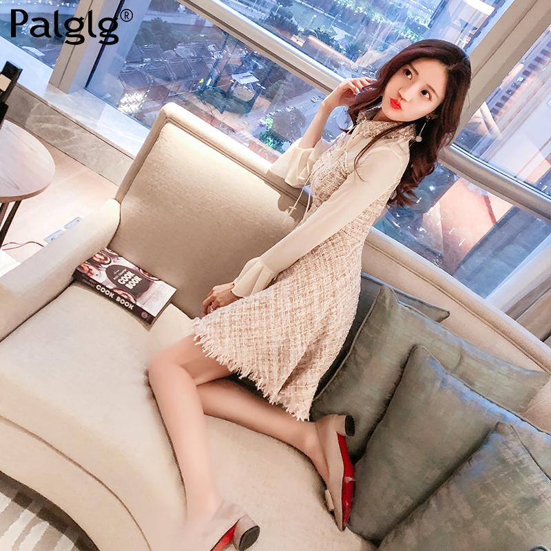 2018新款秋装新款女装韩版修身裙子甜美气质仙女裙雪纺长袖连衣裙