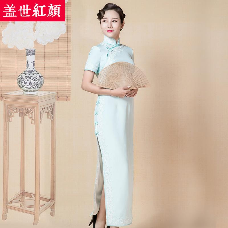 盖世红颜2017秋冬新款真丝加厚中式礼服女高开叉下摆老上海旗袍