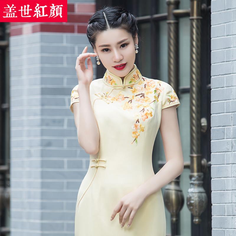 盖世红颜真丝旗袍春夏新款手工刺绣长款改良修身显瘦短袖中式礼服
