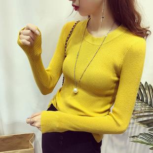 秋冬季新款2017女百搭纯色长袖针织衫圆领套头修身打底衫紧身毛衣